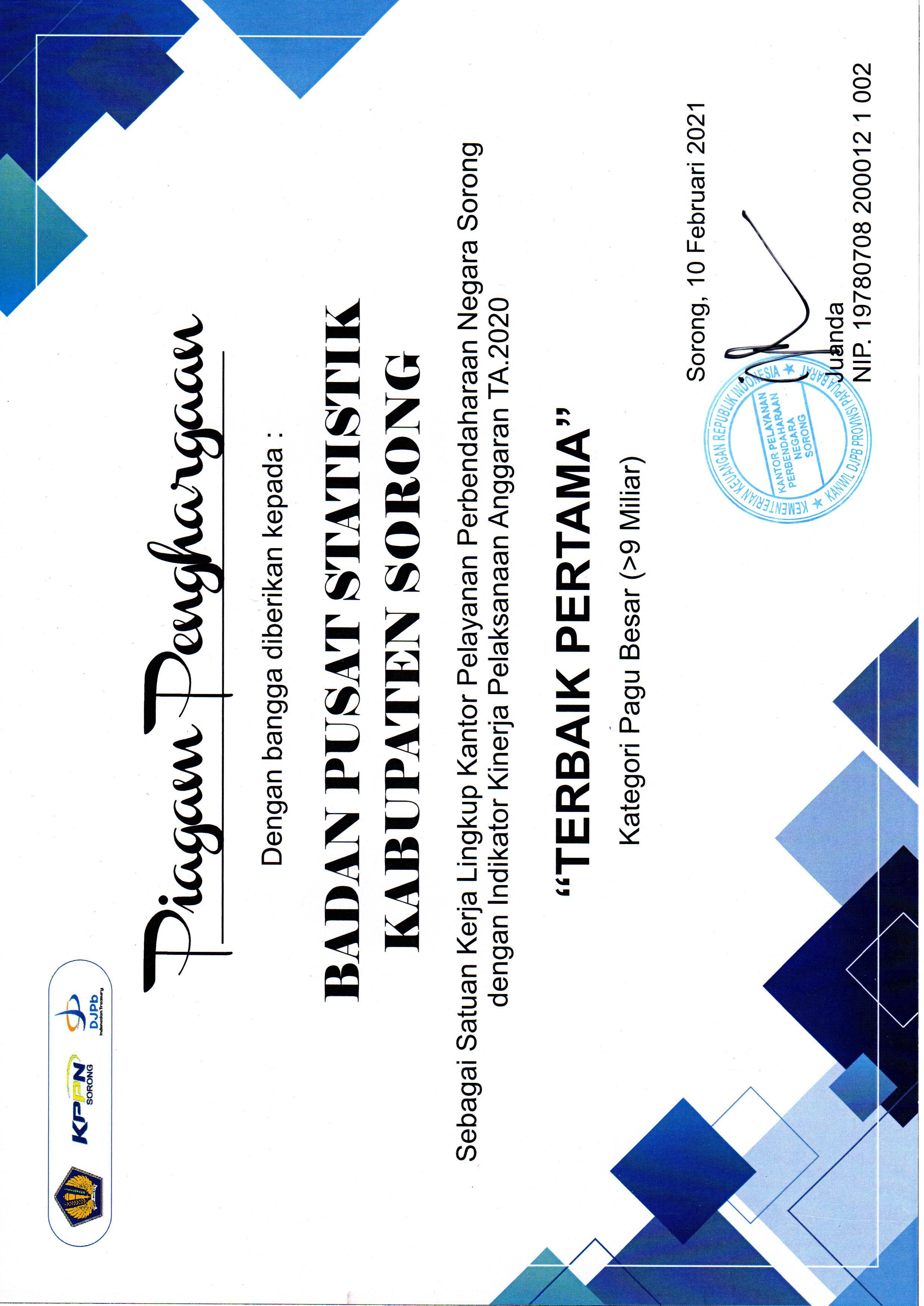 Penghargaan BPS Kab Sorong